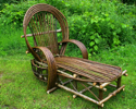 rustic chaise lounge, bent willow furniture